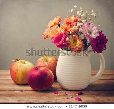 still life with apples and autumn flowers stock photo © master1305