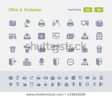 Bureau téléphone granit professionnels icônes Photo stock © micromaniac