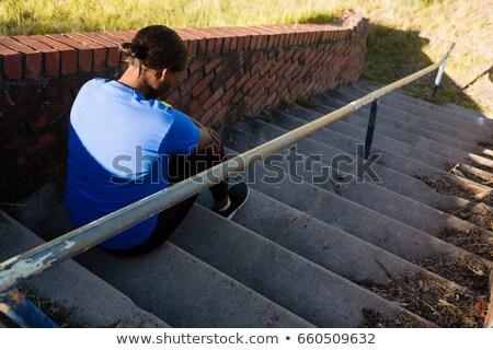 üzgün kadın oturma merdiven çizme kamp Stok fotoğraf © wavebreak_media
