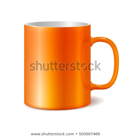Orange cup isolated on white background. Blank cup for branding. Photorealistic vector template Stock photo © ESSL