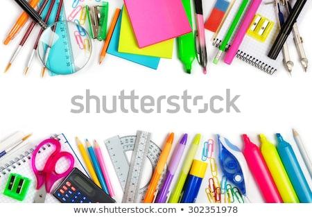 Przybory szkolne ramki granicy nauki narzędzia komputera Zdjęcia stock © Lightsource
