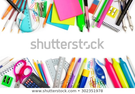 Schulbedarf Rahmen Grenze Lernen Werkzeuge Computer Stock foto © Lightsource