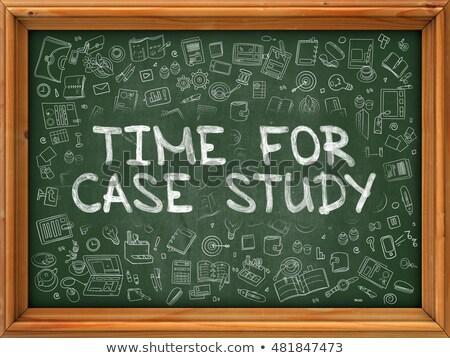 Green Chalkboard with Hand Drawn Time for Case Study. Stock photo © tashatuvango