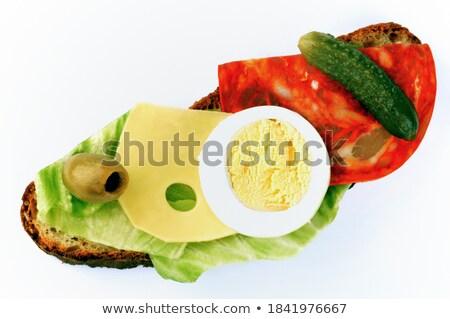 Vegetali insalata olive toast ciotola verde Foto d'archivio © Digifoodstock