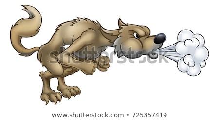 Nagy rossz farkas fúj rajzfilmfigura három Stock fotó © Krisdog