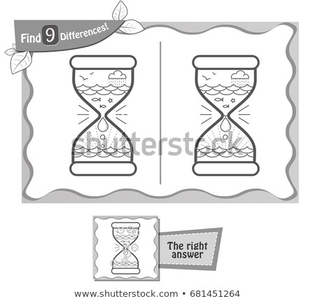 find 9 differences game black hourglass Stock photo © Olena