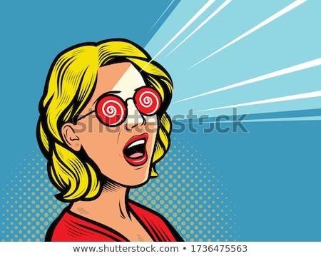 Zavarodottság omg báj nő szemüveg pop art Stock fotó © studiostoks