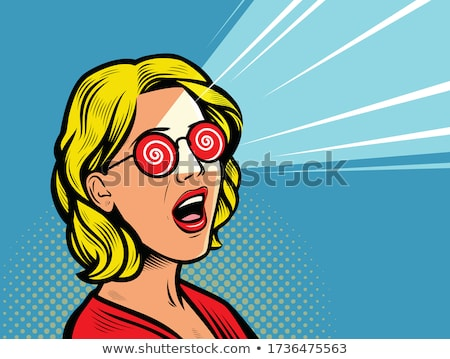 Verwarring omg glamour vrouw bril pop art Stockfoto © studiostoks