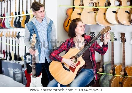 ragazzo · chitarra · tune · chitarra · acustica · cowboy · Hat - foto d'archivio © is2