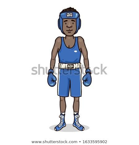 przystojny · młodych · Afryki · człowiek · bokser · stwarzające - zdjęcia stock © deandrobot