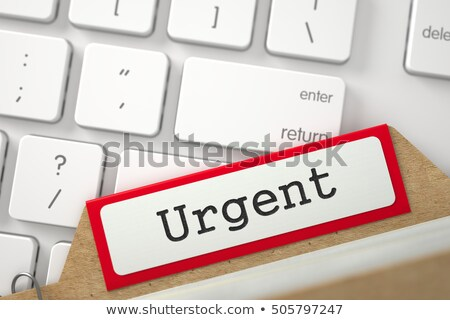 card file with inscription urgent 3d stock photo © tashatuvango