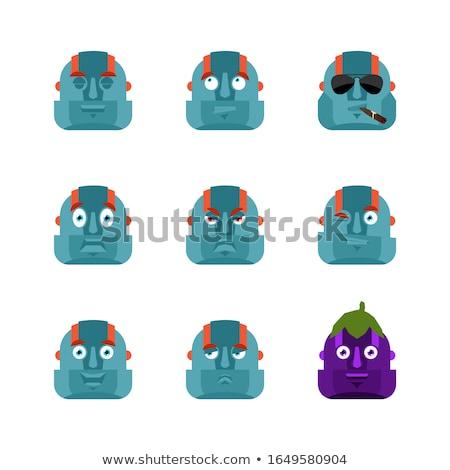 Robot establecer avatar triste enojado cara Foto stock © popaukropa