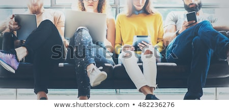 group of people on mobiles at office stock photo © is2