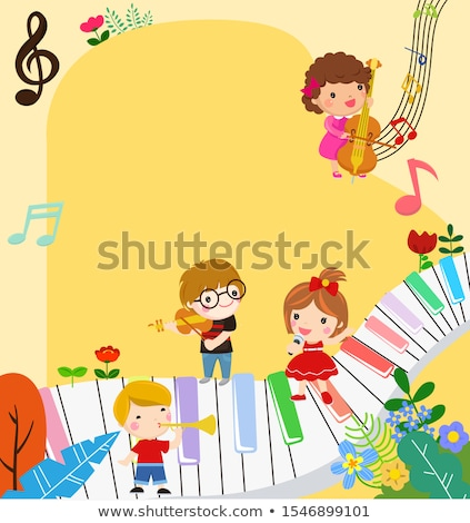 Kid Violin Perform Flowers Stock photo © lenm