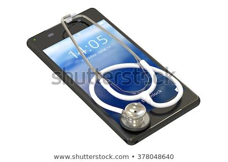 Stok fotoğraf: Stetoskop · telefon · beyaz · yalıtılmış · 3D · 3d · illustration