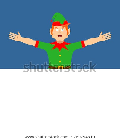 Santa Elf and Blank Space. Place for text. Xmas template design. Stock photo © popaukropa
