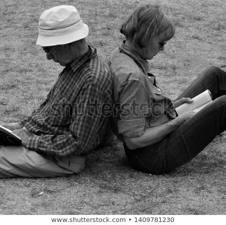 Romantikus idősebb pár hosszú fű jókedv Stock fotó © IS2