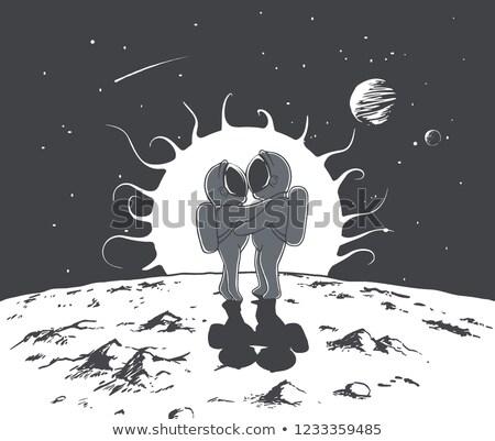 Nő űrhajós szenvedélyes néz pop art retro Stock fotó © studiostoks
