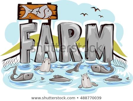 Słodkowodnych ryb gospodarstwa typografii ilustracja pełny Zdjęcia stock © lenm