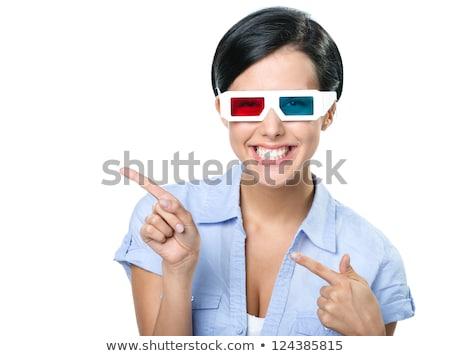 feliz · mulher · óculos · indicação · dedo · longe - foto stock © deandrobot