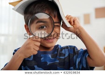 nagyító · néz · szó · oktatás · kék · üzlet - stock fotó © is2