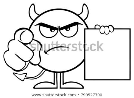 Zwart wit boos duivel cartoon karakter wijzend Stockfoto © hittoon