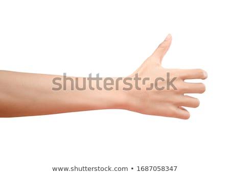 Női kéz üveg sziluett zöld borosüveg Stock fotó © CsDeli