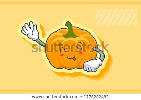 Orange Pumpkin Cartoon Emoji Character Waving Stock photo © hittoon