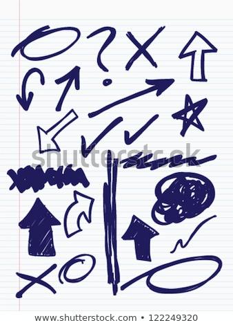 ingesteld · pen · fiche · hand · grunge · abstract - stockfoto © trikona