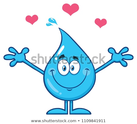 Cute Blue Water Drop Cartoon Mascot Character With Open Arms For Hugging And Hearts Stock photo © hittoon