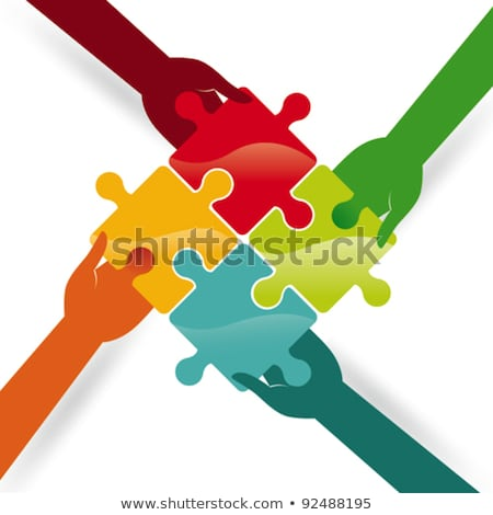 person connecting two white jigsaw puzzle stock photo © andreypopov