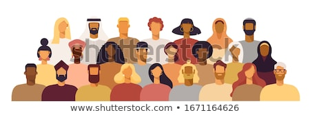 Diverse culture people group in flat color Stock photo © cienpies