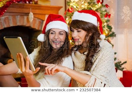Christmas znajomych komin ilustracja domu obecnej Zdjęcia stock © adrenalina