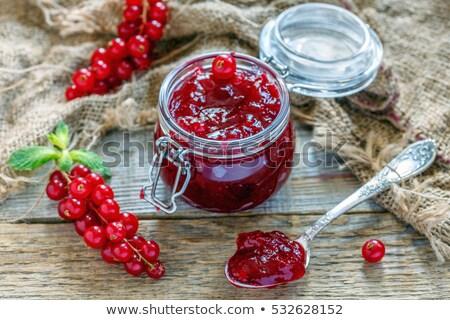 Gyümölcs lekvár kanál bogyók üveg asztal Stock fotó © hraska