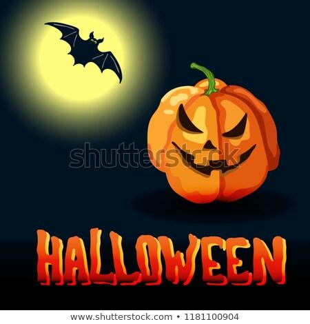 Cartoon halloween titel volle maan gezicht Stockfoto © TasiPas