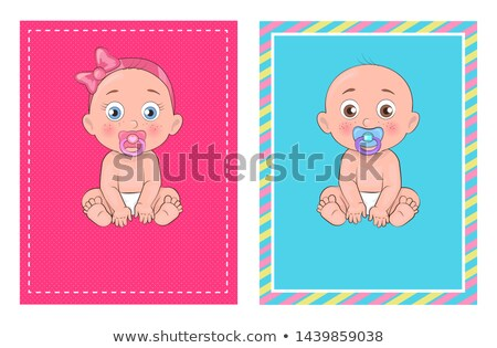 It Girl and Boy Set of Posters Dedicated to Baby Stock photo © robuart