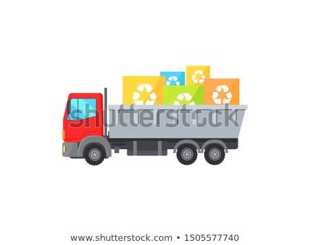 Grande rosso camion via piazza garbage Foto d'archivio © robuart