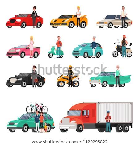 Modern autók teherautó vmi mellett szett sport Stock fotó © robuart