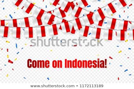 Indonesia garland flag with confetti on transparent background, Hang bunting for celebration templat Stock photo © olehsvetiukha