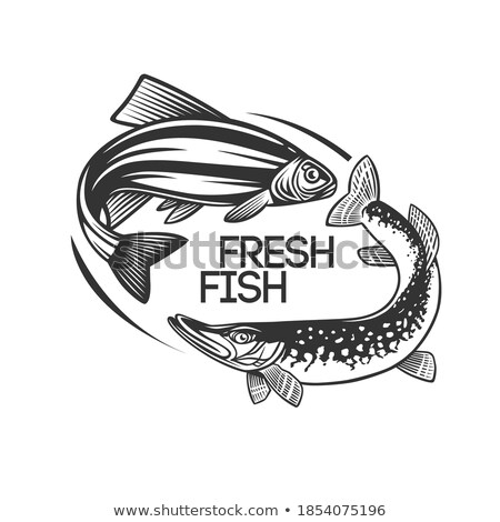 Round Monochrome Vector Fish Silhouette Logotype Stock photo © robuart