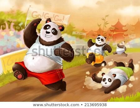 Cartoon panda uruchomiony wyścigu szczęśliwy Zdjęcia stock © cthoman