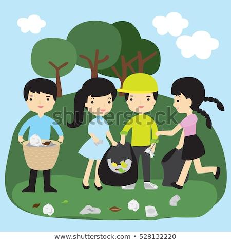 voluntario · ninos · limpieza · parque · ilustración · cielo - foto stock © artisticco