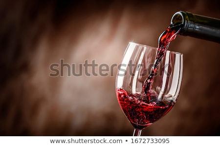 Photo stock: Vin · rouge · bouteille · verre · raisins · bois · haut