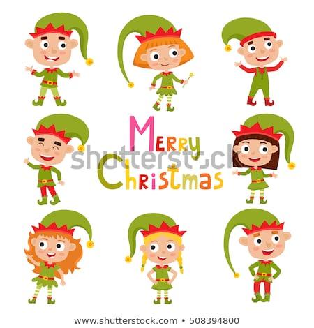 Desenho animado sorridente elfo menino feliz Foto stock © cthoman