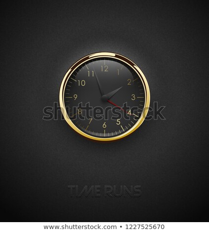 realistic deep black round clock cut out on textured plastic dark background glossy golden frame stock photo © iaroslava