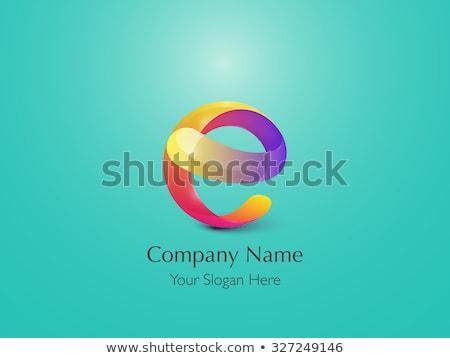 letter e logo e purple yellow sign icon vector Stock photo © blaskorizov
