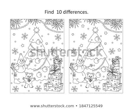 farklılıklar · oyun · Noel · renk · kitap · siyah · beyaz - stok fotoğraf © izakowski