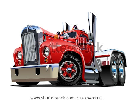 Cartoon Retro Semi Truck Isolated On White Stock fotó © Mechanik