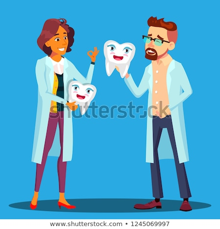 Doctor Dentist Holding A Smiling Tooth, Man And Woman In White Coat Vector. Isolated Cartoon Illustr Stock photo © pikepicture