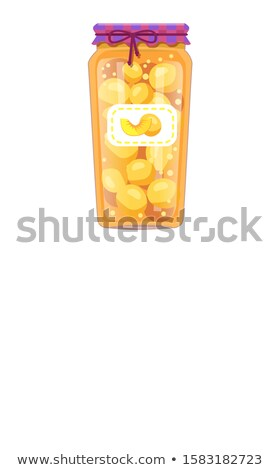 Poster with Organic Compote or Marmalade Bottles Stock photo © robuart